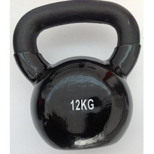 KETTLEBELL 12 KG COVERED IN PLASTIC, BLACK COLOR